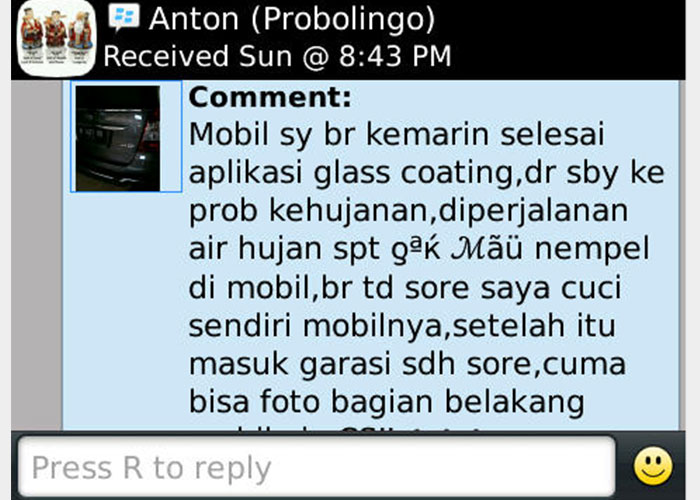 CS-II Paint Protection Indonesia Testimonial 10