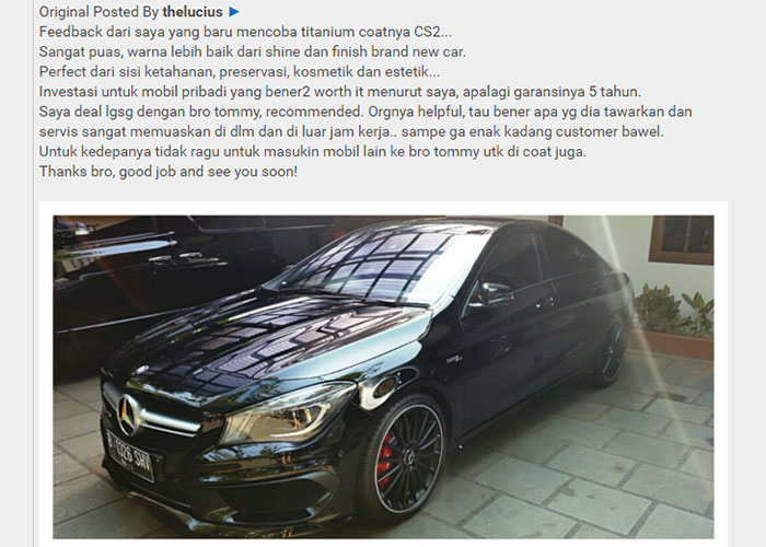 CS-II Paint Protection Indonesia Testimonial 7