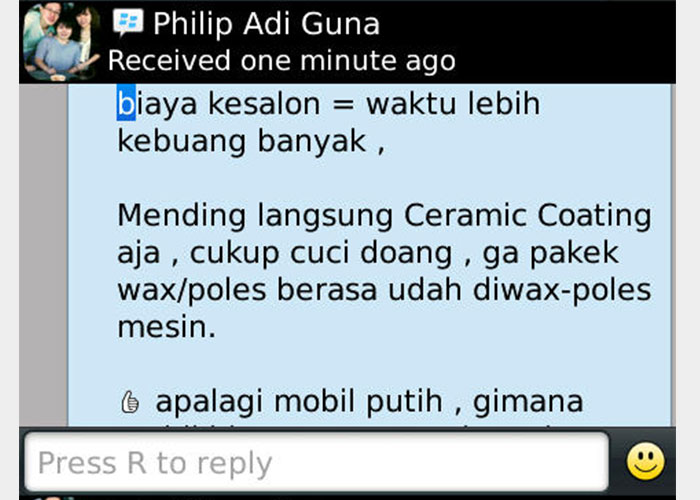 CS-II Paint Protection Indonesia Testimonial 9