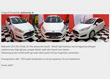 CS-II Paint Protection Indonesia Testimonial 6